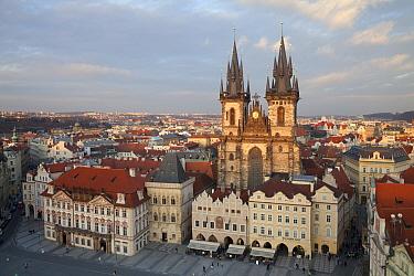 View of church and city square, Tyn Church, Old Town, Prague, Czech Republic, march  -  Bernd Rohrschneider/ FLPA