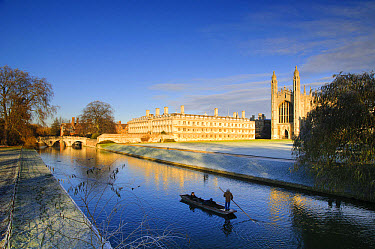 View of river with punt approaching bridge and college buildings in frost, Clare Bridge, Jerwood Library, Trinity Hall, Clare College and King's College Chapel, River Cam, Cambridge, Cambridgeshire, E...  -  Dave Pressland/ FLPA