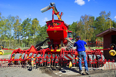 Farmer washing Vaderstad Rapid A S seed drill with pressure washer, Upplands Vasby, Sweden, may  -  Bjorn Ullhagen/ FLPA