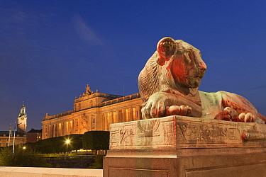 Lion sculpture and royal palace illuminated at night, Royal Palace, Stockholm, Sweden, September  -  Bernd Rohrschneider/ FLPA