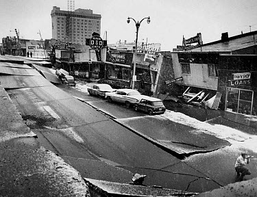 Earthquake damage to city minutes after tremor of . intensity, Anchorage, Alaska, U.S.A., ..  -  Steve McCutcheon/ FLPA