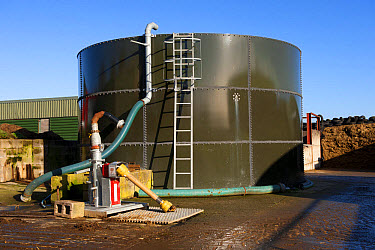 Slurry storage tower, with slurry stirrer attached, Cumbria, England, November  -  Wayne Hutchinson/ FLPA