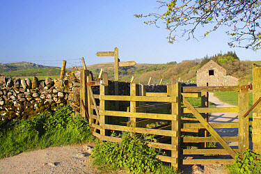 Pennine Way' signpost and wooden kissing gates along public footpath, beside drystone wall and stone barn, Malham, Malhamdale, Yorkshire Dales National Park, North Yorkshire, England, May  -  Paul Miguel/ FLPA