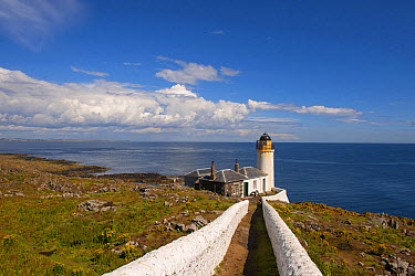 View of coastline and bird observatory housed in former lighthouse, Low Light, Isle of May, Firth of Forth, Scotland, July  -  Mike Powles/ FLPA