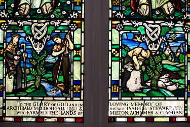 Stained glass window depicting farming (in memory of Archibald MacDougall and Isabell Stewart), Kenmore Kirk, Kenmore, Trossachs, Stirling, Scotland, July  -  Colin Marshall/ FLPA