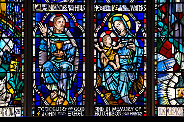 Stained glass window depicting Mother and Child and Jesus (in memory of John and Ethel Hutchison), Kenmore Kirk, Kenmore, Trossachs, Stirling, Scotland, July  -  Colin Marshall/ FLPA