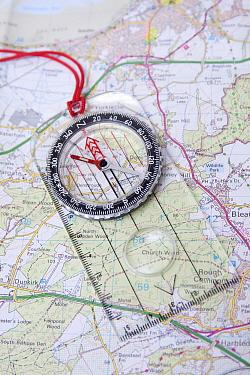 Compass on Ordnance Survey map of Kent, England, August  -  Angela Hampton/ FLPA
