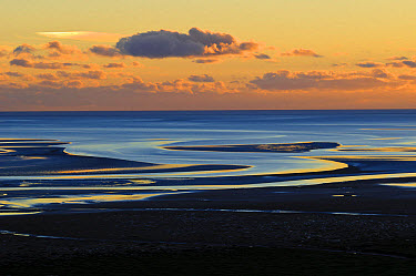 View across bay with channels in sand, at low tide in evening light, Humphrey Head, Morecambe Bay, Cumbria, England, December  -  Dave Pressland/ FLPA