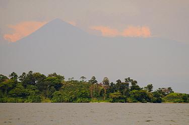 View of lake with volcano in distance, Lake Kivu, Albertine Rift, Democratic Republic of Congo, November  -  Fabio Pupin/ FLPA