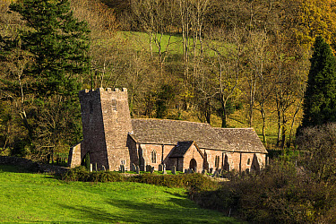 Church with leaning tower caused by subsidence, Church of St. Martin, Cwmyoy, Llantony Valley, Brecon Beacons National Park, Monmouthshire, Wales, November  -  Allen Lloyd/ FLPA