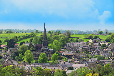 View of town and church spire, All Saints Church, Bakewell, Peak District National Park, Derbyshire, England, May  -  Gary K Smith/ FLPA