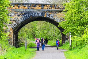 Walkers walking under bridge on path along former railway line, Monsal Trail, Peak District National Park, Derbyshire, England, May  -  Gary K Smith/ FLPA