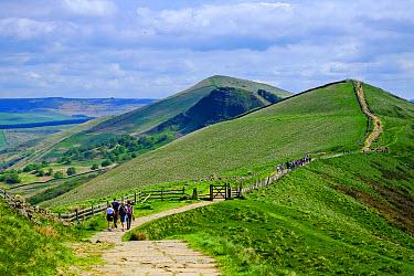 Walkers walking along hill path, Mam Tor, High Peak District, Peak District National Park, Derbyshire, England, May  -  Gary K Smith/ FLPA