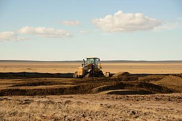 Bulldozer clearing site for 'fracking' (hydraulic fracturing), Pawnee Grasslands, Eastern Plains, Colorado, U.S.A., March  -  Chris & Tilde Stuart/ FLPA