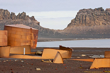 View of derelict whale oil storage tanks at abandoned whaling station, Port Foster, Deception Island, South Shetland Islands, Antarctica, January  -  Kevin Elsby/ FLPA