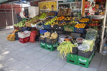 Green grocer shop sell fruit and veg, Bulgaria  -  David Hosking/ FLPA