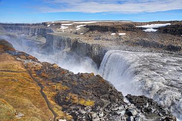 View of waterfall flowing into canyon, Dettifoss Waterfall, Jokulsa a Fjollum River, Jokulsargljufur Canyon, Vatnajokull National Park, Iceland, June  -  Bill Coster/ FLPA
