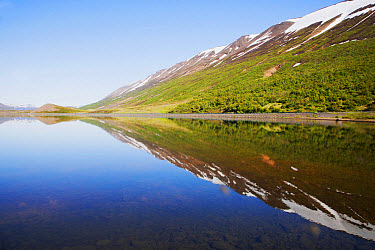 View of lake with reflection of mountains, Ljosavatn Lake, Iceland, June  -  Bill Coster/ FLPA