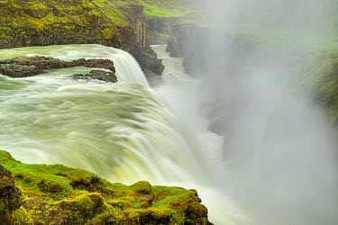 View of river and waterfall flowing into canyon, Gullfoss Waterfall, Hvita River, Iceland, June  -  Bill Coster/ FLPA