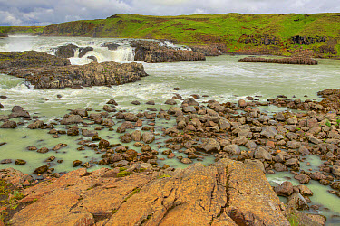 View of river and waterfall, Urridafoss Waterfall, Thjorsa River, Iceland, June  -  Bill Coster/ FLPA