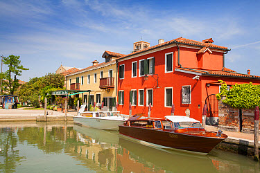 Waterfront with Locanda Cipriani restaurant and waiting water taxis, Torcello Island, Venetian Lagoon, Venice, Veneto, Italy, May  -  Dickie Duckett/ FLPA