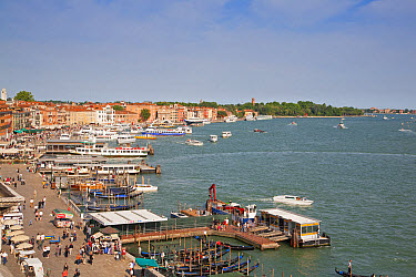 View of waterfront with gondolas and tour boats, looking from roof of Hotel Danielli, Riva Degli Schiavoni, Castello District, Venice, Veneto, Italy, May  -  Dickie Duckett/ FLPA