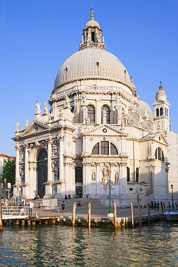 Waterfront and Roman Catholic church, Santa Maria della Salute, Grand Canal, Dorsoduro District, Venice, Veneto, Italy, May  -  Dickie Duckett/ FLPA
