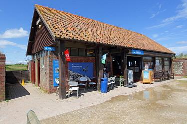 Entrance to reserve through information centre and shop, Bempton Cliffs RSPB Reserve, Bempton, East Yorkshire, England, July  -  John Watkins/ FLPA