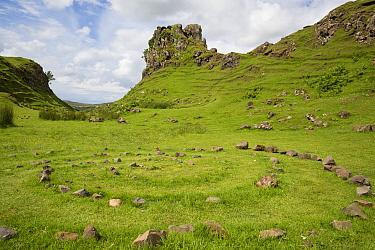View of stone circle and rock outcrop 'tower' formation, Castle Ewen, Fairy Glen, Trotternish Peninsula, Isle of Skye, Inner Hebrides, Scotland, July  -  Bernd Rohrschneider/ FLPA
