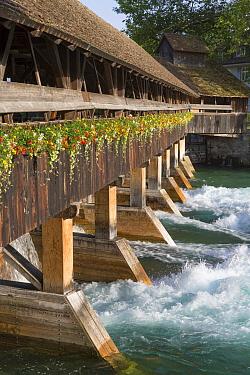 Sluice gates on river, River Aare, Thun, Bernese Oberland, Switzerland, June  -  Bernd Rohrschneider/ FLPA
