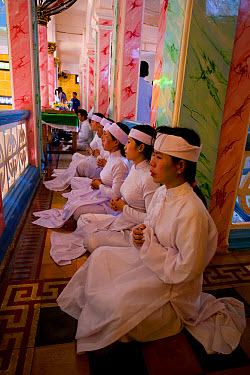 Caodaist disciples sitting on balcony during ceremony, Cao Dai temple, Tay Ninh Holy See, Tay Ninh, Tay Ninh Province, Vietnam, December  -  Colin Marshall/ FLPA