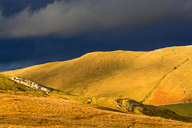 Evening sunlight on fells with stormclouds behind, near Kirkby Stephen, Cumbria, England, March  -  Wayne Hutchinson/ FLPA