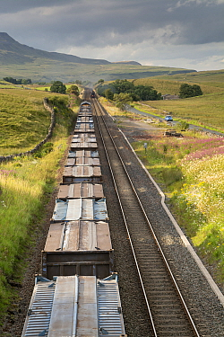 Goods train on Settle to Carlisle railway line on Aisgill incline up Mallerstand, Cumbria, England, August