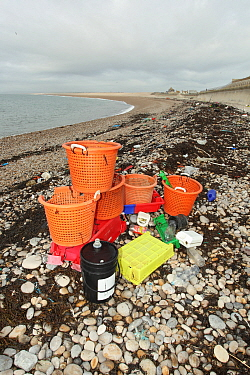 Fishing litter collected on beach, Chesil Beach, Dorset, England, January