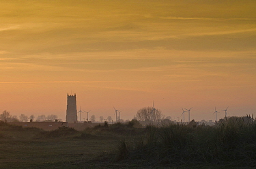 View of distant church and wind turbines at sunrise, Holy Trinity and All Saints Church, Winterton-on-Sea, Norfolk, England, November