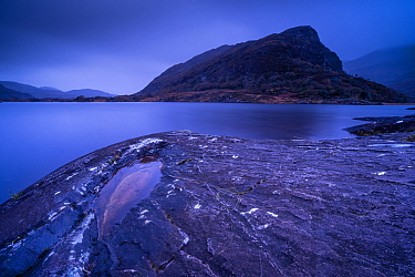 View of mountain in narrow channel connecting lakes, at dawn, The Long Range, Lakes of Killarney, Eagle's Nest Mountain, Killarney N.P., County Kerry, Munster, Ireland, November