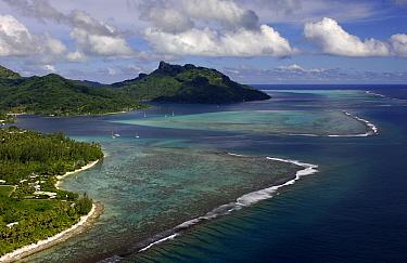 Aerial view of Huahine Island and reef, French Polynesia  -  Rick Tomlinson/ npl