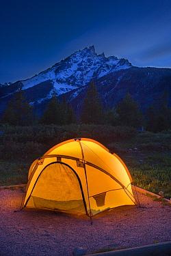 Campsite at twilight, Jenny Lake Campground, Grand Teton National Park, Wyoming, USA  -  Jeff Vanuga/ npl