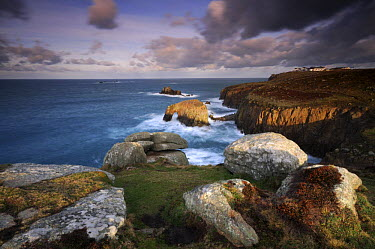 Land's End, Cornwall, UK, at dawn, inc Longships lighthouse, The Armed Knight, Enys Dodnan and complex February 2008  -  Ross Hoddinott/ npl
