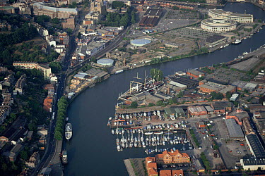 Aerial view of Bristol docks with SS Great Britain Bristol, UK 2002  -  Sue Flood/ npl