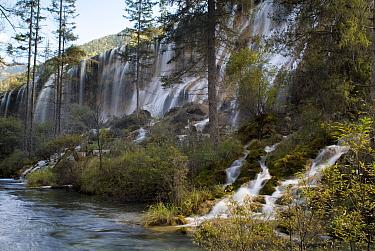 Waterfalls, Juizhaigou national reserve, UNESCO world heritage site, Sichuan province, China, October 06 'Wild China' series  -  Gavin Maxwell/ npl