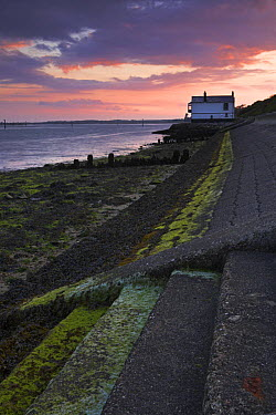 Sea defences and the old Lifeboat station at Lepe Beach, Hampshire, England  -  Adam Burton/ npl