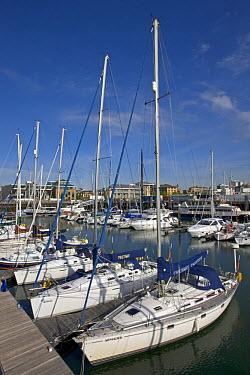Yachts moored at Ocean Village Marina, Southampton, Hampshire, England  -  Adam Burton/ npl