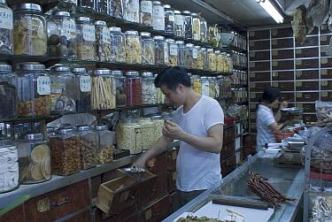 Chinese medicine store, Hong Kong, September 07, 'Wild China' series  -  Gavin Maxwell/ npl