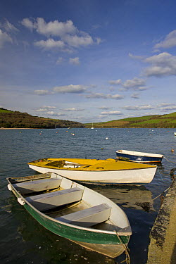 Boats moored on the River Avon estaury in Bantham, South Devon, England  -  Adam Burton/ npl