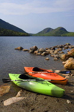 Kayaks on the shore of Jordan Pond with The Bubbles in the background, Arcadia NP, Maine, USA  -  Jerry Monkman/ npl