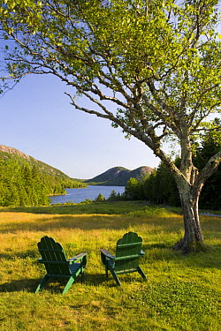 Chairs on the lawn of the Jordan Pond House, Mount Desert Island, Acadia National Park, Maine, USA  -  Jerry Monkman/ npl