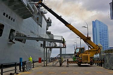 Aircraft Carrier HMS Illustrious preparing to leave Liverpool, UK October 2008  -  Graham Brazendale/ npl