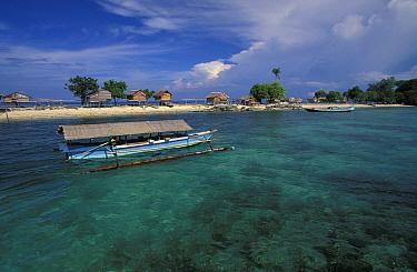 Palafitte cottage on stilts in Baju village on southern tip of Walea island, Togian Islands, Sulawesi, Indonesia  -  Roberto Rinaldi/ npl