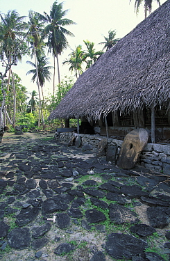 Traditional Yap style house with stone money in front, Micronesia  -  Roberto Rinaldi/ npl